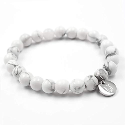 OLE VILLADIS | Naturstein Perlen Armband für Herren und Damen aus marmoriertem Gestein mit elastischem Gummiband | 8 x 185 mm (Costa Blanca)
