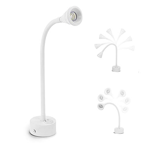 Geldee Flexible COB LED Bettleselicht Leselampe Wandleuchte, 3W Schwanenhals Lampe Wandmontage Nachtbeleuchtung Leselicht mit EIN/AUS Schalter für Schlafzimmer, Wohnzimmer, Büro, Kinderzimmer