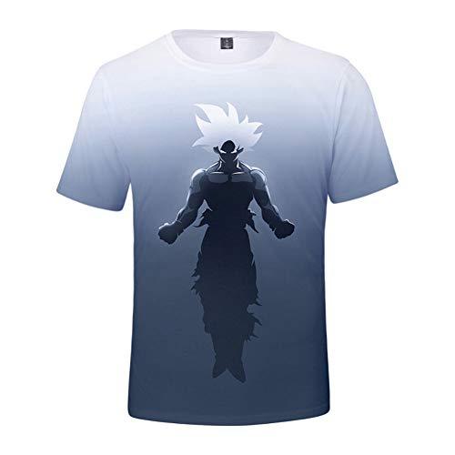 Charakter-jugend-t-shirt (SPONSOKT Männer Kurzarm Klassische Dragon Ball Cartoon Charakter 3D Digitaldruck Kurzarm Outdoor Casual Jugend Sport Top T-Shirt,Kj5,XL)