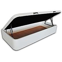 Ventadecolchones - Canapé Apertura Lateral Gran Capacidad Modelo Serena tapizado en Polipiel Blanco Medidas 90 x