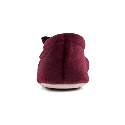 Isotoner - Pantofole donna, in velluto, con fiocco grande Bordeaux