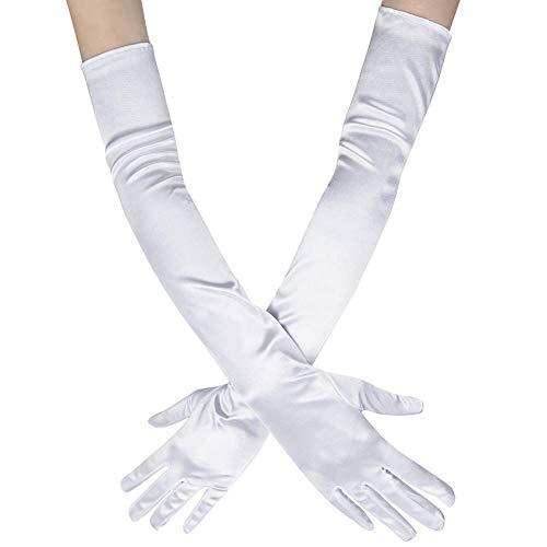 Ruiuzi Long Flapper Abendoper Hochzeiten Satin Handschuhe 1920er Jahre Handschuhe Ellenbogenlänge 15 '/ 21' für Frauen (21 Inches-white)
