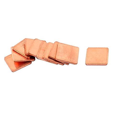 sourcingmap® 10pcs 15mmx15mmx1.5mm carrés cuivre dissipateur thermique CPU pour ordinateur portable PC