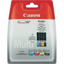 Canon CLI-551 C/M/Y/BK Multipack - 4er-Pack - Schwarz, Gelb, Cyan, Magenta - Original - Tintenbehälter - für PIXMA iP7250, iP8750, iX6850, MG5450, MG5550, MG6350, MG6450, MG7150, MX725, MX925