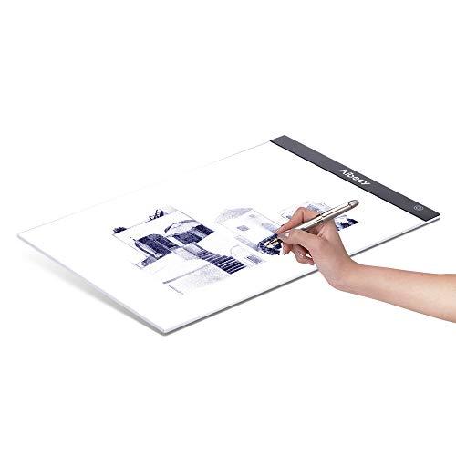 Aibecy A4 LED Leuchtkasten Zeichnungserfassung Tischmalerei Kopierblock Kopierbrett mit stufenlos dimmbarer Helligkeitsspeicherfunktion für die Betrachtung von Künstleranimationen