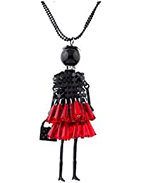 Girlz! Black & Red Dress Doll Necklace Pendant With Chain For Women