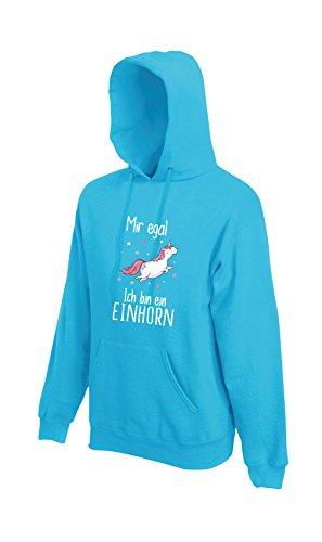 Shirt-Panda Einhorn Unisex Hoodie Mir egal ich Bin EIN Einhorn mit Unicorn Motiv Spruch Fun Cool Azur Blue L
