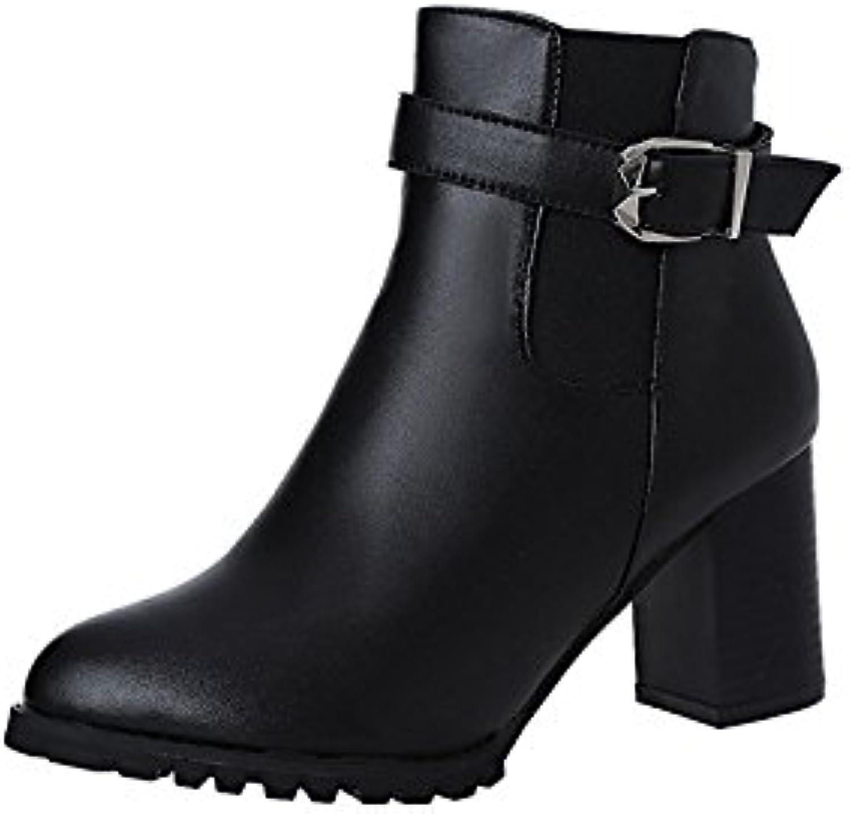 b2e46e164c49 AIMENGA AIMENGA AIMENGA Female Thick With Pu Boots Short Boots Thick With  Pointed Pu Boots Women S Shoes Winter Retro High Heel... B07HN8JYXQ Parent  29e98a