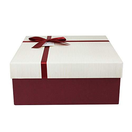 Emartbuy Rígido Lujo Caja de Regalo de Presentación en Forma Cuadrada, 23.5 cm x 23.5 cm x 10 cm, Caja Borgoña Texturizada Con Tapa Crema, Interior Marrón Chocolate y Cinta Decorativa Satinada