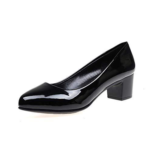 Pumps Schuhe Damen Pumps Mary Jane Halbschuhe Schwarze Mode Mit Hochhackigen Schuhen Für Vier Jahreszeiten ZHAOYONGLI (Farbe : Patent Leather Black 4cm, größe : 37) Black Patent-leather Pumps