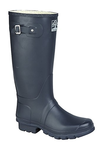 Tough Navy Country Wellies - Generous Calf Size (5)