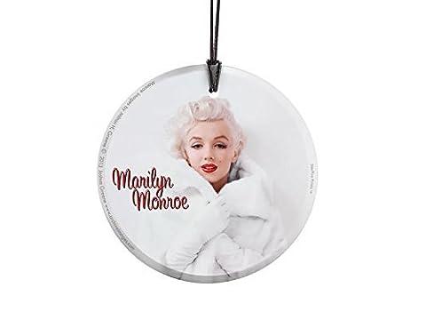 Marilyn Monroe (White Fur) StarFire Prints Hanging Glass Ornament SPCIR417 by StarFire Prints