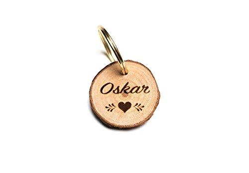 holz mit Wunsch Gravur (personalisiert) beidseitig graviert/inkl. Schlüsselring für Halsband & Hundeleine ()
