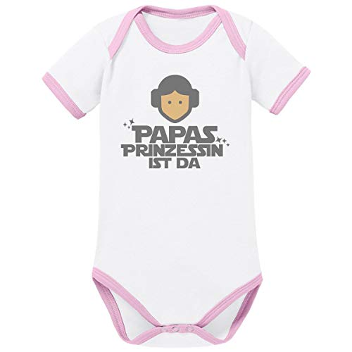 Mikalino Ringer Babybody Papas Prinzessin ist da 100% handbedruckt in Deutschland - bei 60 Grad waschbar - mit Spruch, Grösse:62, Farbe:weissrosa -