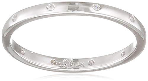 s.Oliver Damen-Ring So Pure 3 mm schmal schlicht 925 Sterling Silber rhodiniert Zirkonia weiß, 54 (17.2)