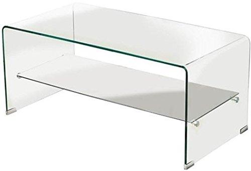 Mesa de centro con balda cristal curvado 80x40 cm