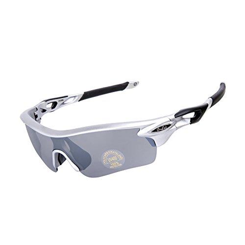O-Let Sport-Sonnenbrille für Männer Frauen, Radfahren Baseball Laufen Angeln Golf plus Rezept/Leser Frame (Silber, grau)