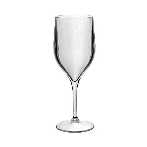 Roltex Lot de 6 verres Tao Super Deluxe incassable, réutilisable, hheavy Poids (170gm) Long Verres à pied à vin 35 cl (Volume) cristal transparent (Max diameter80 mm, hauteur 210 mm)