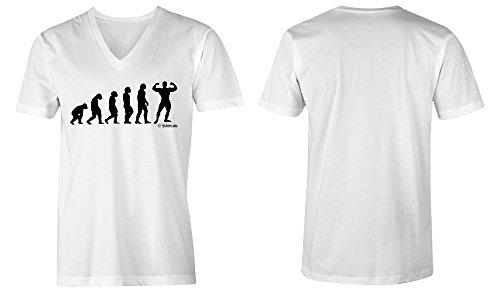Evolution Bodybuilder ★ V-Neck T-Shirt Männer-Herren ★ hochwertig bedruckt (02) weiss