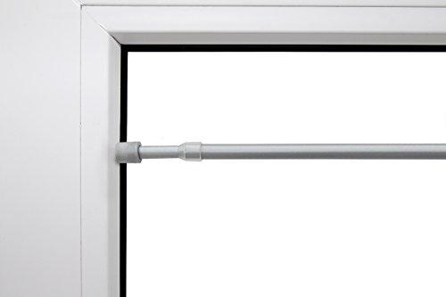Klemmstange ausziehbar chrom matt verschiedene Größen mit Gummistopfen 9 mm Durchmesser aus Metal rund Schraubtechnik Gardinenstange Scheibenstange Tür Fenster Stange Teleskopstange 60 - 90cm