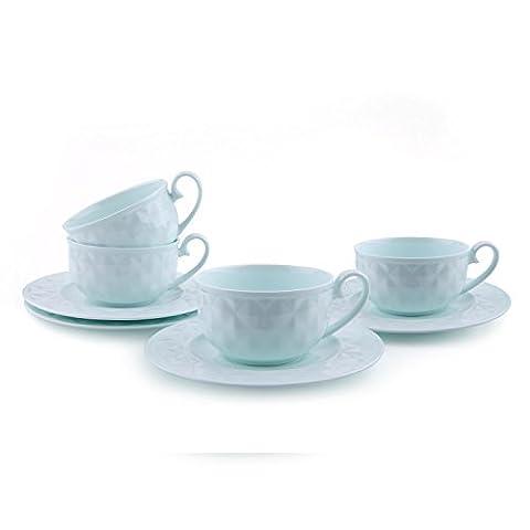 Rachel's 180ml China Porcelain Tea Cup and Saucer Set Coffee Cup Set with Saucer Light Green Damond Bone sets of 4