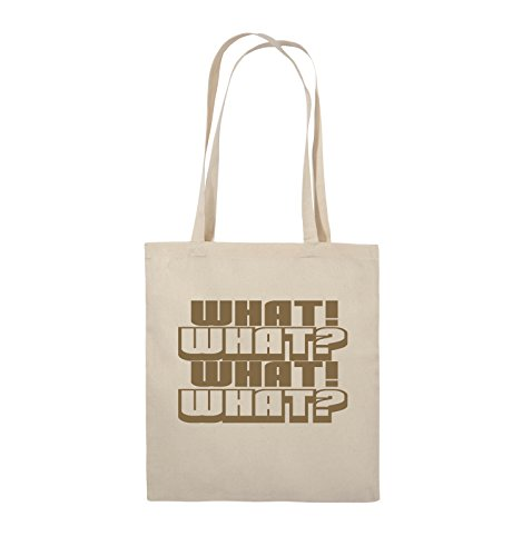 Comedy Bags - WHAT! WHAT! WHAT! WHAT! - Jutebeutel - lange Henkel - 38x42cm - Farbe: Schwarz / Silber Natural / Hellbraun