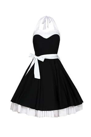 Laeticia Dreams Damen Kleid Rockabilly XS S M L XL, Größe:36;Farbe:Schwarz