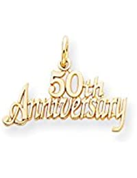 10k Yellow Gold Solid Polished 50th Anniversary Charm - Higher Gold Grade Than 9ct Gold
