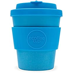 Ecoffee Cup Toroni - Taza de café de bambú reutilizable, 250 ml, color azul brillante