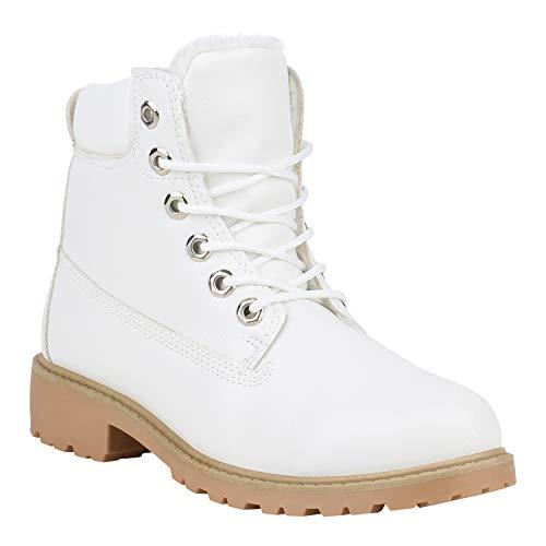 Unisex Damen Herren Warm Gefütterte Damen Worker Boots Stiefeletten Outdoor Schuhe 132196 Weiß Creme 38 Flandell