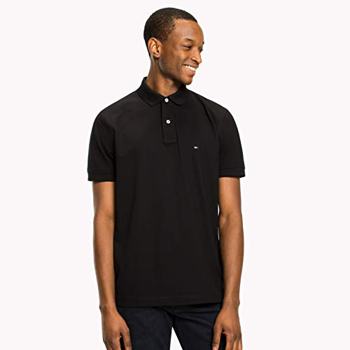 Tommy Hilfiger Herren Poloshirt CORE Tommy Regular Polo Schwarz (Flag Black 032), Small