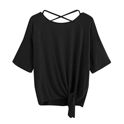 friendGG Ärmelloses Damenhemd,Damen Bluse, FrauenKurzarm-Shirt,Casual Bluse T Shirt 2018 Frühling Sommer Frauen Casual Locker, Sport Top,Strandshirts,Frauen Basic Shirts (L, ❤Schwarz)