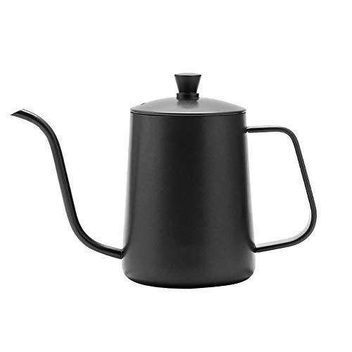 ypypiaol 600 ml lange Kaffeekanne mit schmalem Auslauf, Edelstahl, über Schwanenhalskessel gießen Schwarz