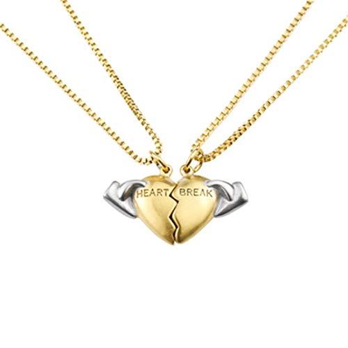 Belle Maison Heartbreak Love Halskette Doppelkette Edelstahl Flutmarke Hip Hop Schmuck -