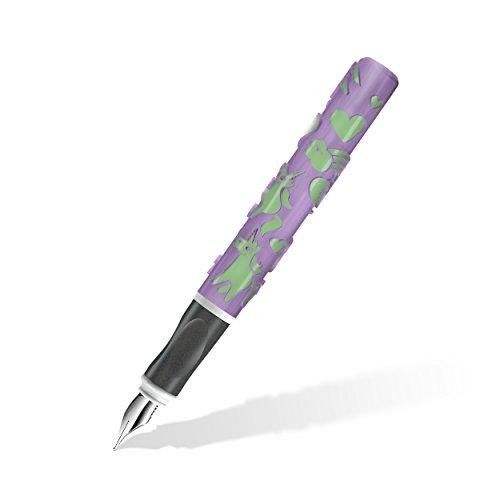 Staedtler Füller Einhorn mit spürbar erhabenen Motiven aus dem 3D-Drucker, für Linkshänder mit speziell angepasster A-Feder, zauberhafte Einhorn-Magie in Pastellfarben Violett und Grün, 9D401FLWU1