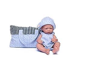 Muñecas Guca- MUÑECO Recien Nacido Dani 36 CM con Peto Marinero Anclas Y Gorro Azul con PORTABOLSOS, (924)