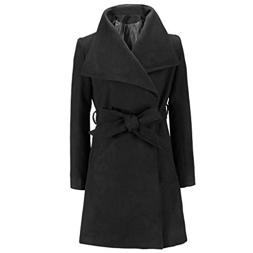 Watopi Damen Long Coat warme Wolle Revers Trench Jacke Cardigan Lange schlanke Mantel -
