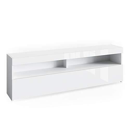 Vicco Lowboard Juno Weiß Grau Hochglanz Schrank Sideboard TV Regal Fernsehtisch (Weiß Hochglanz, 160 cm)