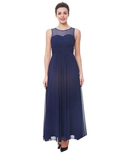 Abendkleider Lange Damen (ZAFUL Damen Lange Abendkleid Chiffon Ballkleid Ärmellos Partykleid Maxi Cocktail Brautkleid Blau l)