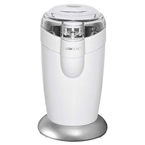 Clatronic KSW 3306 S // Elektrische Kaffeemühle mit Schlagwerk // Edelstahl // 40 g Fassungsvermögen // Impuls-Betrieb // Weiß