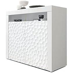Vladon Commode Buffet Valencia, Corps en Blanc Mat/Façades en Blanc Haute Brillance Calypso avec Une Structure 3D fraisée et Bandeaux en Blanc Haute Brillance