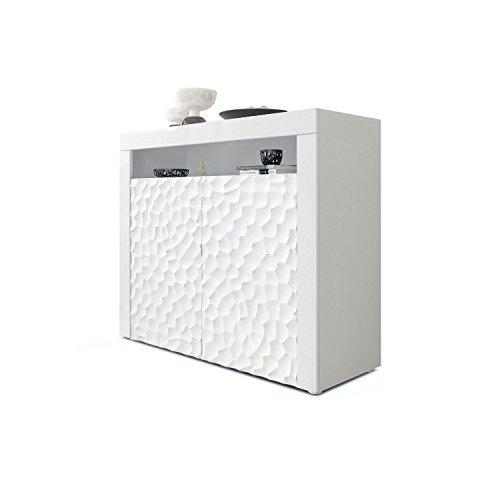 Kommode Sideboard Valencia, Korpus in Weiß matt/Fronten in Weiß Hochglanz Calypso mit 3D Struktur und Blenden in Weiß Hochglanz