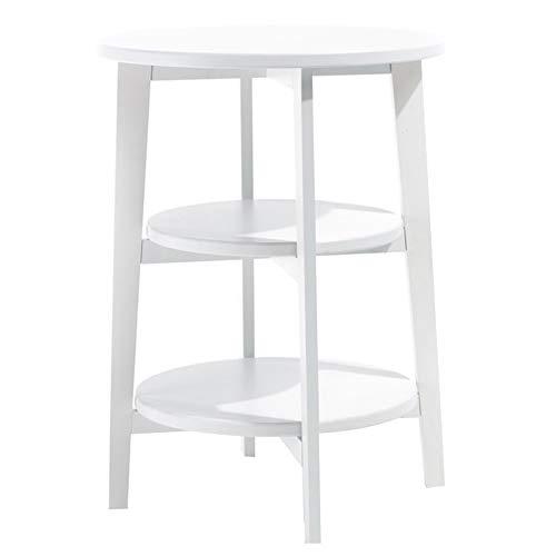 Petite Table Basse Mobile/Petite Table d'appoint de canapé Simple, Table de lit en Bois Massif de Chambre à Coucher, Blanc (45,5 × 45,5 × 62,5 cm)