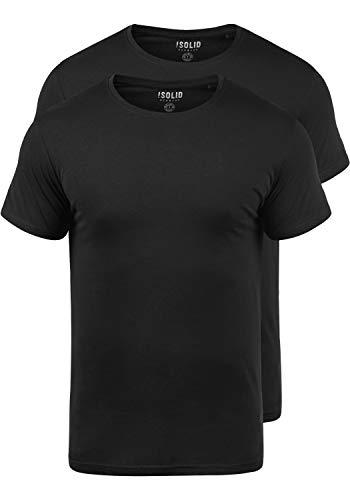 !Solid Portas Herren T-Shirt Kurzarm Shirt Mit Rundhalsausschnitt Aus 100% Baumwolle Stretch 2er Pack, Größe:L, Farbe:Black (9000)