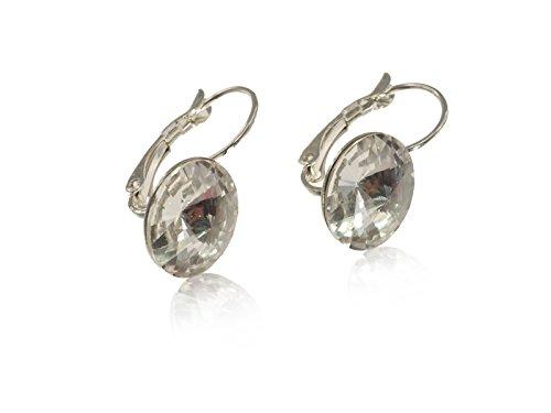 Ohrring, Brisur hängend mit funkelndem Swarovski Kristall Stein 12mm, Geschenkverpackung crystal -