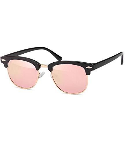 Caripe Sonnenbrille Retro Vintage Kinder Mädchen Jungen verspiegelt - klubbakid (One Size, schwarz - neon-rosa verspiegelt)