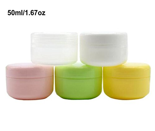 ericotry 6pcs 5Oml 1.67oz nachfüllbar Kunststoff Make-up Kosmetik Gläser leer Face Creme Lotion Eye Shadow Lip Balm Container Pot Flasche Fall Halter mit Dome Deckel