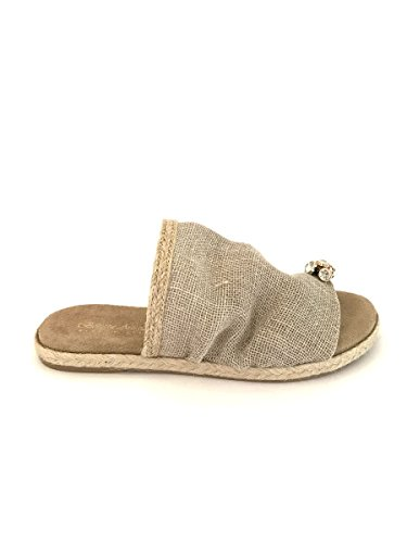 Infradito ciabatte yuta strass in pelle made in italy tacco beige, 37 MainApps