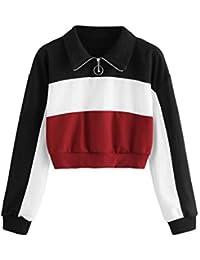 35f2215216 SOLY HUX Mujer Sudadera Cremallera Pullover Blusa Manga Larga Crop Tops con  Camisa Patchwork