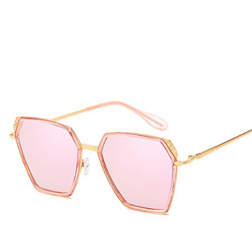 EYEphd Quadratische Sonnenbrille für Damen Herren Polarisierte Sonnenbrille mit übergroßen Spiegelgläsern zum Fahren/Einkaufen - 100% UV-Schutz,PinkFrame/PinkLens